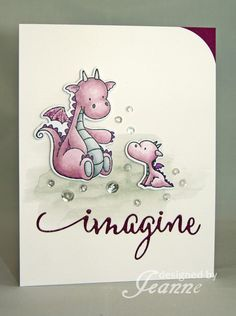 CC602 Imagine Dragons by Penny627 - Cards and Paper Crafts at Splitcoaststampers Stamps: MFT Magical Dragons Paper: Strathmore mixed media, Rich Razzleberry Paper Size: A2 Ink: Copics, memento black, Smoky slate Accessories: Wink of Stella, Pretty Pink Posh sequins, Penny Black word die, MFT Dragon dies Techniques: Coloring, watercolor