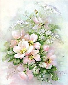 Single Pink Rose Queen Anne s Lace 62 by Sonie Ames China Painting Study 1973 | eBay