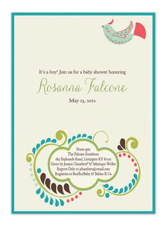 simple, happy, sweet, love it...  Spring Baby Shower Invitation Bird Floral by digibuddhaPaperie, $15.00