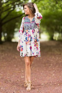 """""""Wild Flower Fascination Dress, Cream""""This dress certainly is fascinating! We are so in love with the combination of not only prints but colors too! It's all so wild and boho! #newarrivals #shopthemint"""