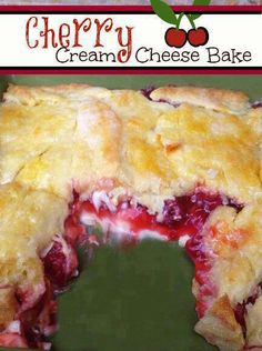 Cherry Cream Cheese Bake - 1can cherry pie filling•8oz roomtemp cream cheese•1/2C powder sugar•1tube crescent rolls•1/2stick butter•2t vanilla•1/2C granulated sugar - Preheat oven 375. Grease 8x8 baking dish. Lay 1/2 of crescent rolls in baking dish. Blend cream cheese til smooth. Add powder sugar & vanilla & blend. Spoon & spread evenly onto crescent rolls in dish. Top w/cherry pie filling. Top w/last 4 triangles of crescent rolls. Melt butter & pour on. Top w/granulated sugar & bake 25min.