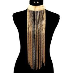 Massive Gold Runway Style Metal Fringe Chain Tassel Layered Drop Choker Statement Necklace Set