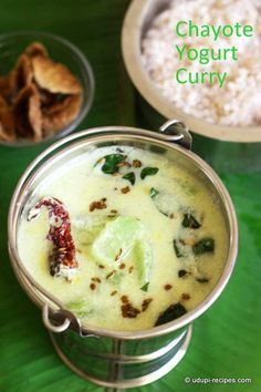 Tempering chayote yogurt curry with an aromatic cumin+fenugreek flavored seasoning can drag you to the dining table directly. So get hold on the recipe. Chayote Recipes, Veg Recipes, Indian Food Recipes, Gourmet Recipes, Vegetarian Recipes, Cooking Recipes, Healthy Recipes, Goan Recipes, Curry Recipes