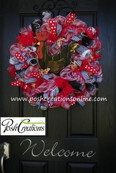 Rooster Wreath Red Plaid Wreath Rooster Decor by poshcreationsKY, $75.00
