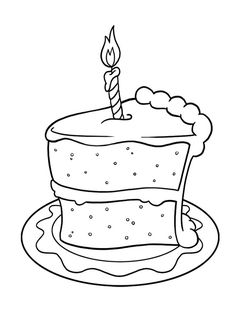 Pictures Slice Of Cake Birthday Coloring Pages