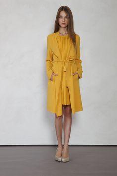 mustard dress and coat