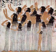 Płaczki z grobowca Ramose, wezyra faraonów Amenhotepa III i Echnatona, 1411-1375 BC (Taki rodzaj nie-kanonicznych przedstawień był charakterystyczny dla okresu amarneńskiego)