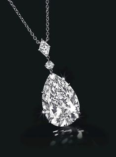Diamond pendant necklace featuring a pear-shaped Type IIa diamond pendant totaling approximately carats with D color and clarity, suspended from a circular-cut and lozenge-shaped diamond link on a fine-link platinum chain. Image by Christie's. Diamond Pendant Necklace, Diamond Jewelry, Necklace Set, Diamond Mangalsutra, Om Pendant, Diamond Necklaces, Teardrop Necklace, Herkimer Diamond, Diamond Rings