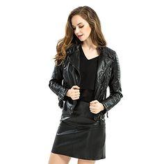 Biovan Womens Faux Leather Zipper Jacket Slim Short Motorcycle Blazer PU Leather coat (Large)