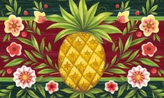 """Pineapple & Flowers Floormat by House-Impressions. $18.99. 30"""" x 18"""". A beautiful addition to your home. Original Artwork by © Jennifer Brinley/Ruth Levison Design. Perfect to fit in our rubber tray (2DMF004B). Great for yourself or as a gift. The pineapple has been a symbol for centuries displaying a welcoming atmosphere for visiting guests. With a dark green border and deep red background, this design celebrates that hospitality. Surrounded by blooming flowers, this bold yel..."""