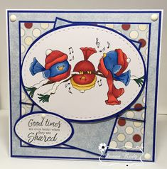 Donna Rudy: Kards By Krash Scrapper: Good Times - 12/21/16.  (High Hopes stamps: Singing Crazy Birds TT070).   (Pin#1:  Christmas: Birds.  Pin+: Friends...).