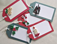 handmade paper quilled Christmas gift tags – set of five tags by sayitwithblooms on Etsy https://www.etsy.com/listing/239520930/handmade-paper-quilled-christmas-gift
