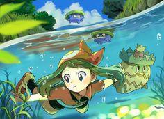 May/Sapphire, Lotad, and Ludicolo Pokemon Team, Pokemon Fan Art, Cool Pokemon, Pokemon Rules, Pokemon Comics, Sapphire Pokemon, Pikachu, Pokemon People, Fanart