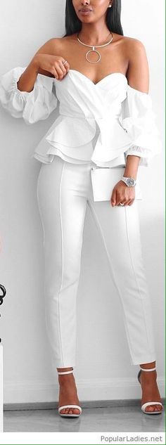 Ruffles // Fashion look by femmeblk - Moda Trends All White Outfit, White Outfits, Casual Outfits, White Outfit Party, White Heels Outfit, Sandals Outfit, Dress Casual, Classy Outfits, Mode Outfits