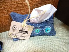 Denim Floral  Tissue Pouch -  from Recycled Denims