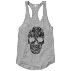 Talula PASADENA TANK Aritzia ($27) ❤ liked on Polyvore featuring tops, shirts, tank tops, tanks, skull print shirt, racerback tank top, lace top, lace racerback tank and skull shirts
