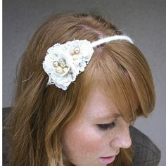 lace flower headband. $28.00, via Etsy.