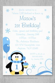 46 best boy winter wonderland birthday party images on pinterest a whimsical boy winter onederland first birthday party invitation a cute penguin illustration with balloons filmwisefo