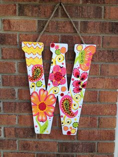 Painted Wood Letters, Wooden Letters, Hand Painted, Initial Door Hanger, Door Hangers, Fun Arts And Crafts, Kids Crafts, Decorating Letters, Buddha Canvas
