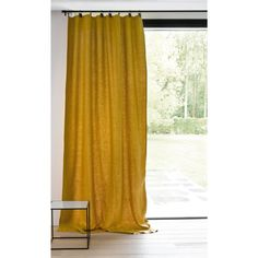 Private Single Washed Linen Curtain with Leather Tabs AM.PM Simple, natural and chic, pre-washed linen softens and takes on a subtle and highly attractive crinkled effect. Tab Curtains, Yellow Curtains, Lined Curtains, Curtains Living, Design Salon, Window Sizes, Home Bedroom, My Room, Window Treatments