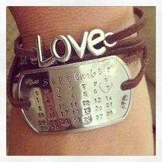 metal stamping tags | Metal stamping on dog tag wrap bracelet. Metal stamped calendar to ...