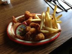 Fried Shrimp Plate  with Steamed Fresh Broccoli, Apple Slices, or French Fries $9.99