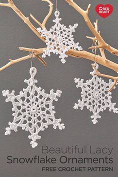 Beautiful Lacy Snowflake Ornaments free crochet pattern in Aunt Lydia's Size 20 Crochet Thread. Crocheted snowflakes are a wonderful way Crochet Christmas Garland, Crochet Ornaments, Christmas Crochet Patterns, Holiday Crochet, Snowflake Ornaments, Christmas Snowflakes, Diy Christmas Ornaments, Crochet Crafts, Crochet Projects