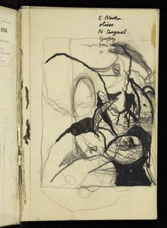 Graham Sutherland OM 'Composition study of plant and landscape forms, with numerous corrections', © The estate of Graham Sutherland Notebooks, Journals, Schematic Drawing, Personal Investigation, Large Tapestries, Sketchbook Pages, English Artists, Landscape Drawings, Color Pencil Art