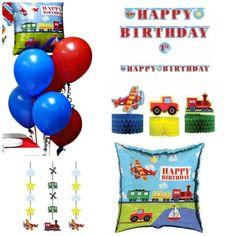 On The Go Party Themed Decorations Kit -Transportation Birthday Boy Bundle