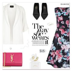 """""""No Matter What Be A Lady"""" by paradiselemonade ❤ liked on Polyvore featuring The 2nd Skin Co., River Island, Yves Saint Laurent and Marc Jacobs"""