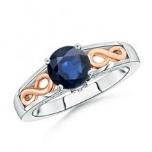 Solitaire Blue #Sapphire Infinity Knot Engagement Ring in Two Tone #Angara