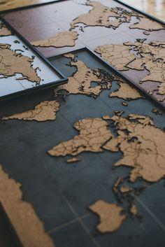 BIG Lasercut and Handmade Cork World Map Wall Art by ArbolDeCorcho