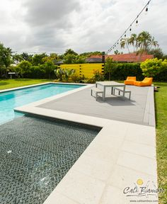 Backyard pool deck ideas! BamDeck composite decking is durable, beautiful, and low-maintenance.