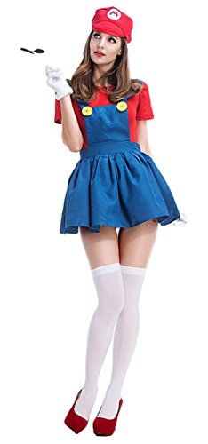 Mumentfienlis Womens Halloween Costume Plumber Adult Costumes Size XL BlueRed -- Click for Special Deals #ExoticCostumes
