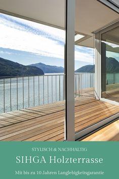 Holzterrasse mit bis zu 10 Jahren Garantie & Wartung. Own Home, Windows, Country, Places, Inspiration, Attic Ideas, Pavilion, Sustainability, Plants