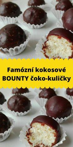 Famózní kokosové BOUNTY čoko-kuličky Cheesecake, Muffin, Food And Drink, Anna, Sweets, Cooking, Breakfast, Desserts, Kitchen