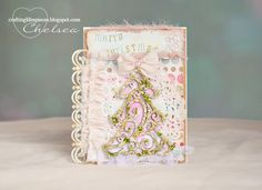 Crafting Life's Pieces: Merry Christmas - shabby chic Christmas card