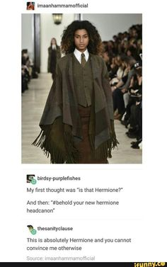She look like a female Daveed Diggs ( aka Thomas Jefferson and Marquis de Lafayette ) but also like Hermione. But I'm gonna go with Daveed Diggs characters<<TRUE! and she's totally Hermione Harry Potter Fandom, Harry Potter Universal, Harry Potter Memes, Harry Potter World, Female Harry Potter, Harry Potter Imagines, Daveed Diggs, No Muggles, Yer A Wizard Harry