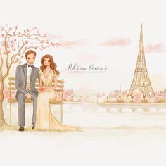 One of my favorite #weddingillustration project I created a couple of years ago for one of my #etsy clients. Her #wedding took place in #paris and she wanted a #romantic #savethesate #illustration with #eiffeltower in the background #illustration #coupleillustration #sakura #cherryblossom #weddinginvite #gown #bride #groom #bridalillustration #weddinggown #fashionillustration #watercolor #watercolour #fashionblogger #fashionillustrator