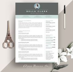 Resume Template 3 pages | Aqua Grey by Draca Design Co on @creativemarket