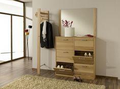 COMBI Garderobe Kernbuche mit Schuhschrank und Spiegel