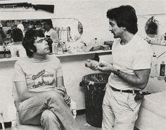 Tom Savini and Stephen King on the set of Creepshow