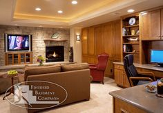 Recessed ceilings to access pipes and duct work, fireplace and TV area on one wall . . .
