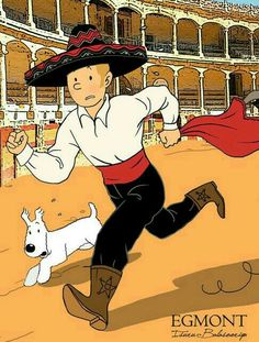 tintin as a bullfighter! // love the outfit, but surely he would never stand for animal cruelty...