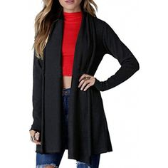 eab4a7da0a789 Womens 2017 Autumn Lightweight Knitted Open Front Shawl Collar Long Sleeve  Cardigan Jacket Coat   Continue to the product at the image link.