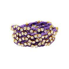 Ettika Rhinestone Wrap-Around Purple Ribbon Bracelet ($113) ❤ liked on Polyvore featuring jewelry, bracelets, accessories, jewelry - bracelets, wrap jewelry, rhinestone bangle, purple bangles, ribbon jewelry and ettika