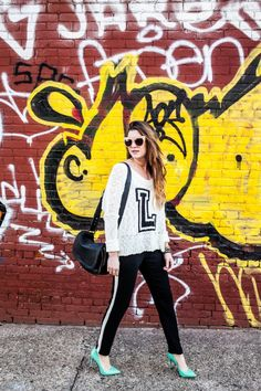 New York City Fashion and Personal Style Blog: Oversized sunglasses, knit monogrammed sweater, tuxedo sweatpants, mint green pumps