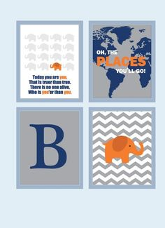 Baby Boy Nursery Art Chevron Elephant Nursery Prints, Baby Nursery Decor Playroom Rules Quote Art,  Kids Wall Art Baby Boys Room, by gabrielle