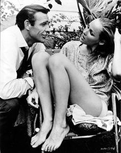 Sean Connery and Ursula Andress on the set of Dr. No 1962
