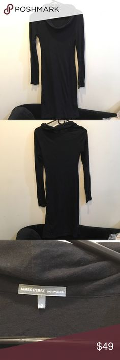 James Perse Black Long Midi Sweater Bodycon Dress James Perse black Bodycon dress with long sleeves and has a soft Knit material. Mid length and has been worn only a few times! Size 2 James Perse Dresses Midi